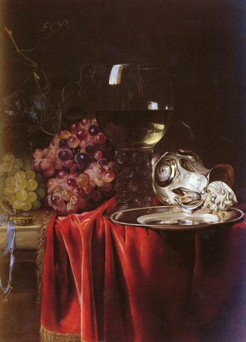A Still Life of Grapes, 1659 by Willem van Aelst
