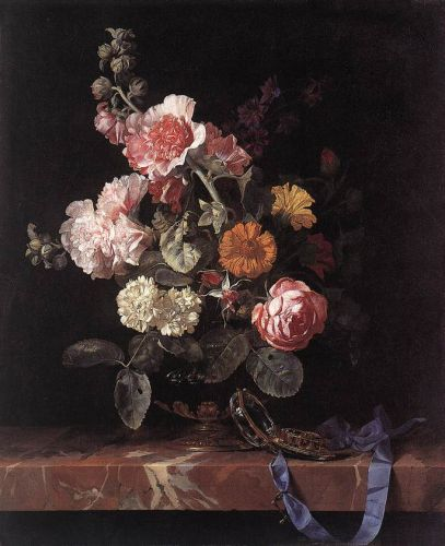 Vase of Flowers with Watch, 1656 by Willem van Aelst