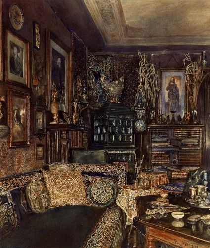 The Office of Count Lanckoronski, Vienna, 1881 by Rudolf von Alt
