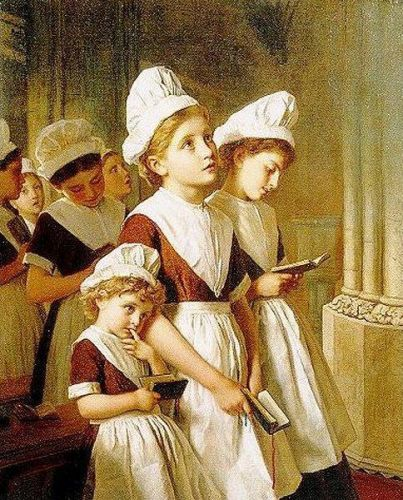 Young Girls at Prayer in the Chapel, 1877 by Sophie Gengembre Anderson