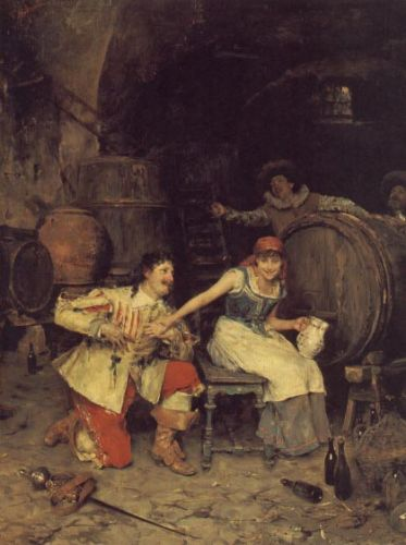 Flirtation in the Wine Cellar, 1867 by Federico Andreotti