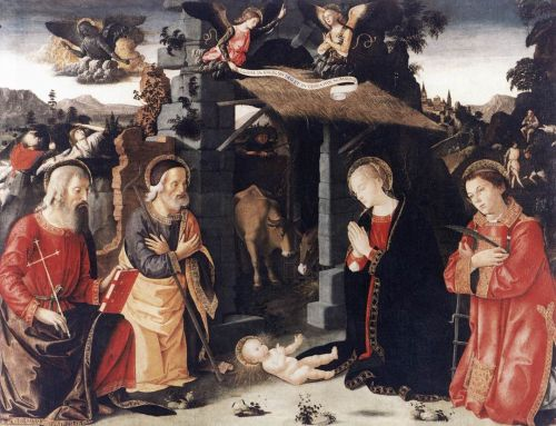 Nativity with Sts Lawrence and Andrew, 1480-1485 by Romano Antoniazzo