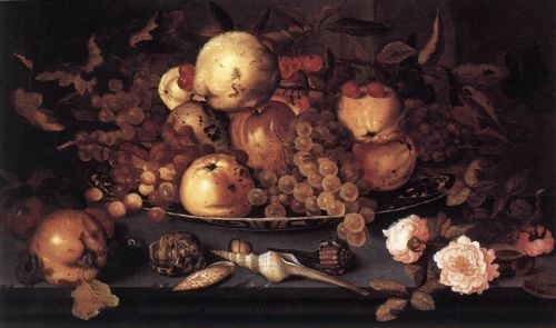 Still-Life with Dish of Fruit (Fruits et coquillages), 1623 by Balthasar van der Ast
