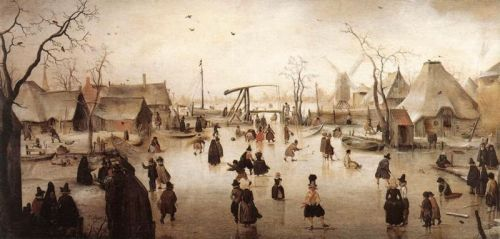 Skaters by a Village, 1609-1610 by Hendrick Avercamp