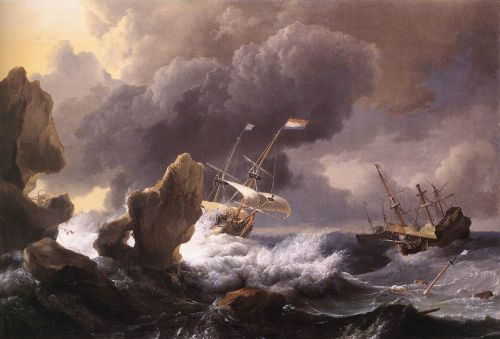 Ships in Distress off a Rocky Coast, 1667 by Ludolf Backhuysen