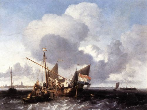 Ships on the Zuiderzee before the Fort of Naarden, 1660 by Ludolf Backhuysen