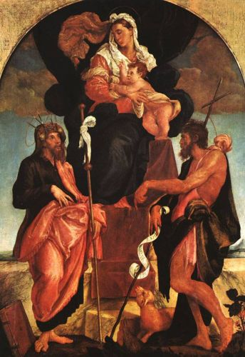 Madonna and Child with Saints, 1545-1550 by Jacopo Bassano