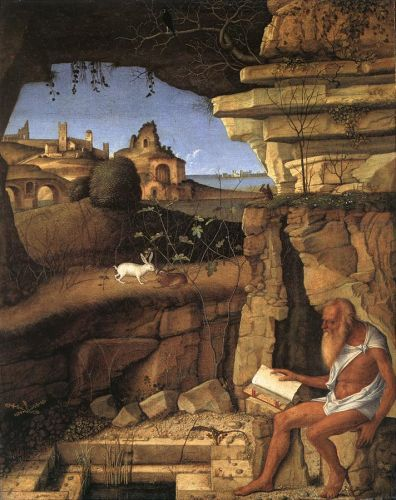 St Jerome Reading in the Countryside, 1505 by Giovanni Bellini