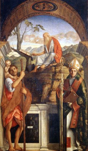 Sts Christopher, Jerome and Ludwig of Toulouse, 1513 by Giovanni Bellini