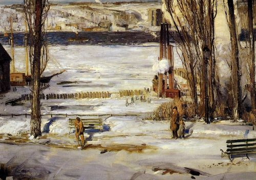 A Morning Snow - Hudson River by George Bellows