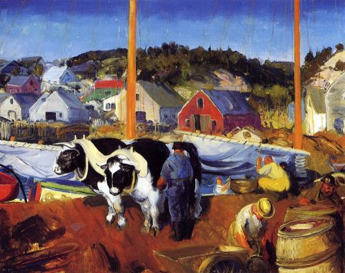 Ox Team, Wharf at Matinicus, 1916 by George Bellows
