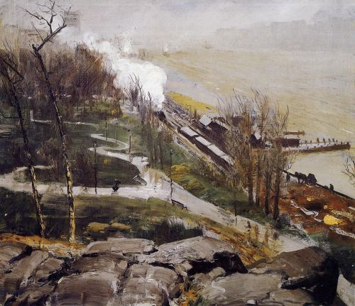 Rain on the River, 1908 by George Bellows