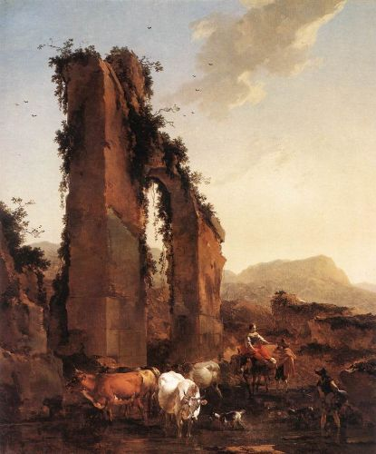 Peasants with Cattle by a Ruined Aqueduct, 1658 by Nicolaes Berchem