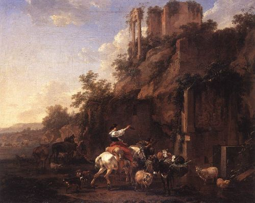 Rocky Landscape with Antique Ruins, 1657 by Nicolaes Berchem