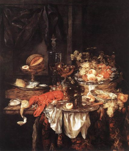 Banquet Still-Life with a Mouse, 1667 by Abraham van Beyeren