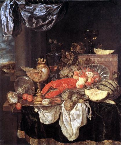 Large Still-life with Lobster, 1653 by Abraham van Beyeren