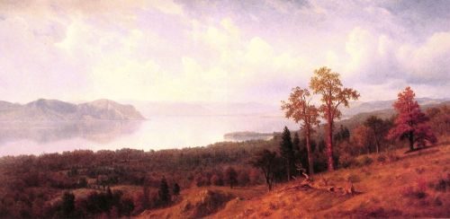 View Of The Hudson Looking Across The Tappan Zee Towards Hook Mountain, 1866 by Albert Bierstadt