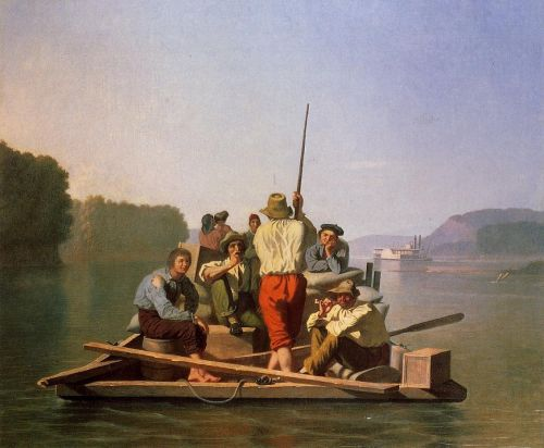 Lighter Relieving the Steamboat Aground by George Caleb Bingham