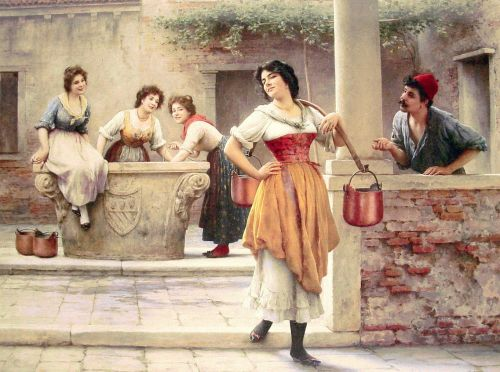 Flirtation at the Well by Eugene de Blaas