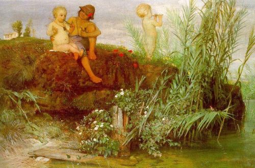 Children Carving Many Flutes by Arnold Böcklin