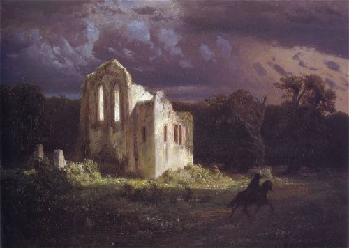 Ruins in a Moonlit Landscape by Arnold Böcklin