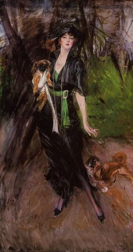 Portrait of Lina Bilitis, with Two Pekinese by Giovanni Boldini