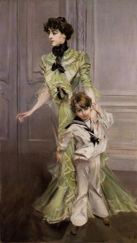 Portrait of Madame Georges Hugo and Her Son, Jean by Giovanni Boldini