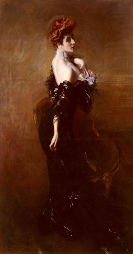 Portrait Of Madame Pages In Evening Dress by Giovanni Boldini