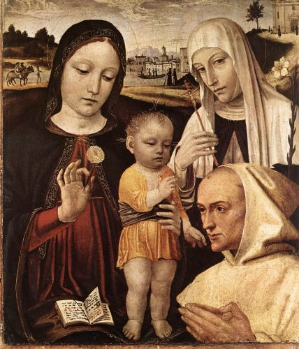 Madonna and Child, St Catherine and the Blessed Stefano Maco by Ambrogio Bergognone