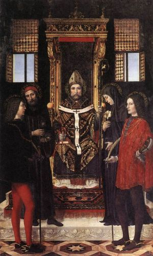 St Ambrose with Saints by Ambrogio Bergognone