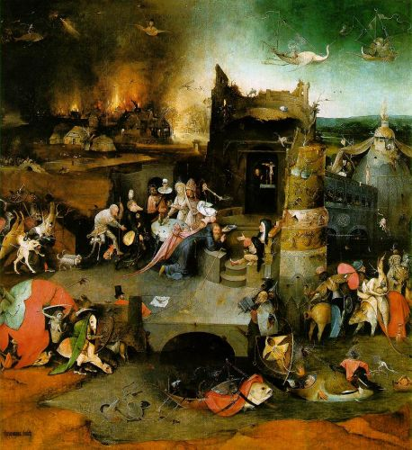 Temptation of St Anthony, central panel of the triptych by Hieronymus Bosch