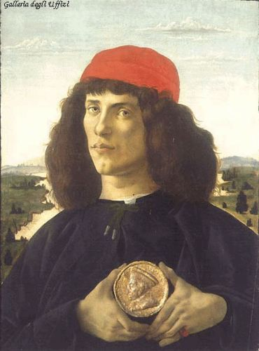 Portrait of an Unknown Personage with the Medal of Cosimo il by Sandro Botticelli