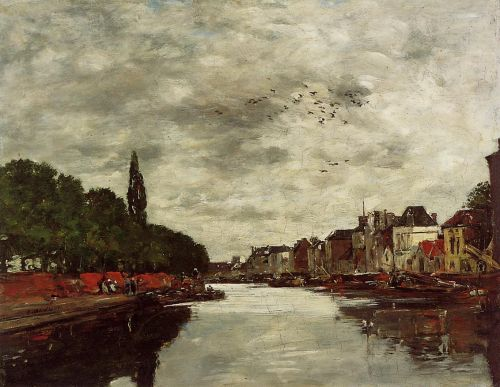 A Canal near Brussels, 1871 by Eugène Boudin