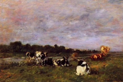 A Pasture on the Banks of the Touques by Eugène Boudin