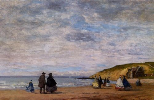 A Walk on the Beach by Eugène Boudin