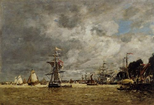 Anvers, Boats on the Ecaut by Eugène Boudin