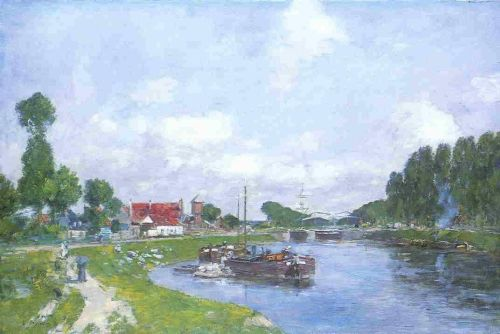 Barges on the Canal, Saint-Valery-sur-Somme by Eugène Boudin