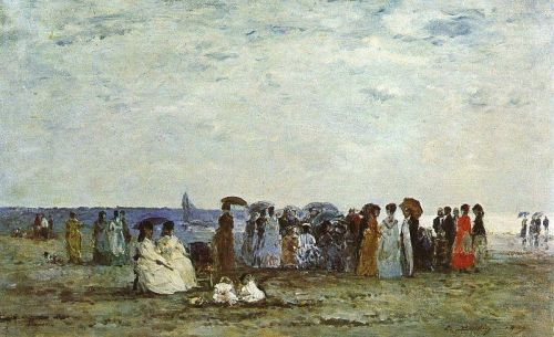 Bathers on the Beach at Trouville by Eugène Boudin