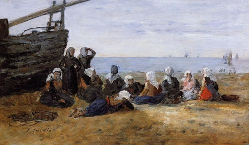 Berck, Group of Fishwomen Seated on the Beach by Eugène Boudin