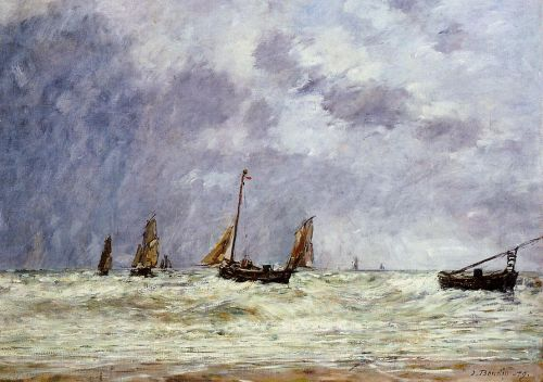 Berck, the Departure of the Boats by Eugène Boudin