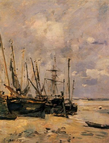 Boats at the Beach at Low Tide by Eugène Boudin