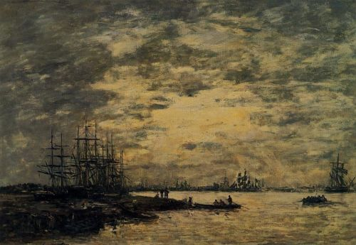 Bordeaux, Boats on the Garonne by Eugène Boudin