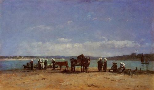 Brittany, Fishermen's Wives on the Shore by Eugène Boudin