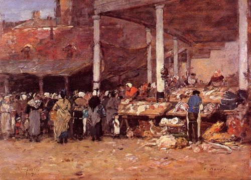 Brussels - the Old Fish Market by Eugène Boudin