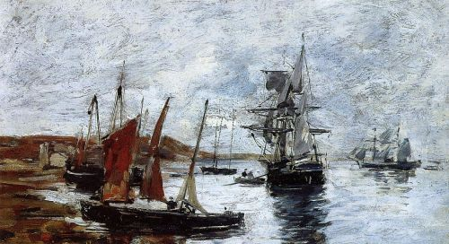 Camaret, Boats on the Shore by Eugène Boudin