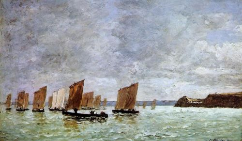 Camaret, Fishing Boats off the Shore by Eugène Boudin
