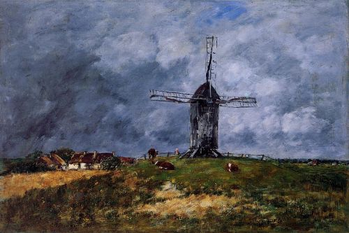 Cayeux, Windmill in the Countryside, Morning by Eugène Boudin
