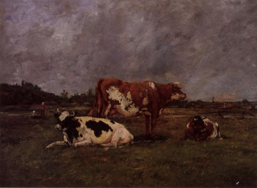 Cows in Pasture by Eugène Boudin