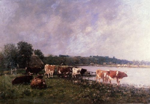 Cows on the Banks of the Touques by Eugène Boudin