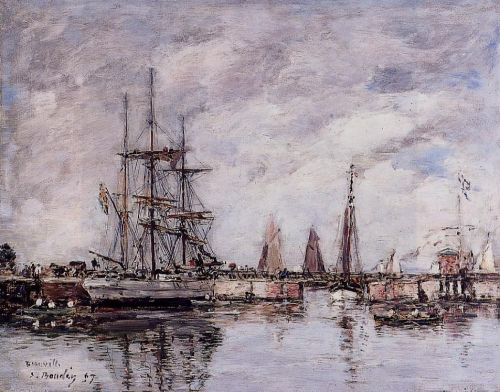 Deauville, Norwegian Three-Master Leaving Port by Eugène Boudin